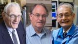 Добитниците на Нобеловата награда за хемија од лево на десно – Џон Гуденаф, Стенли Витингем и Акира Јашино.