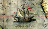 Викторија, единствениот брод од Магелановата експедиција којшто се враќа назад во Шпанија. Детаљ од мапа од 1590 година