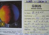 QSL картичка со која што британскиот радиоаматер G3IUS го потврдува одржувањето на првата радиоврска од независна Македонија